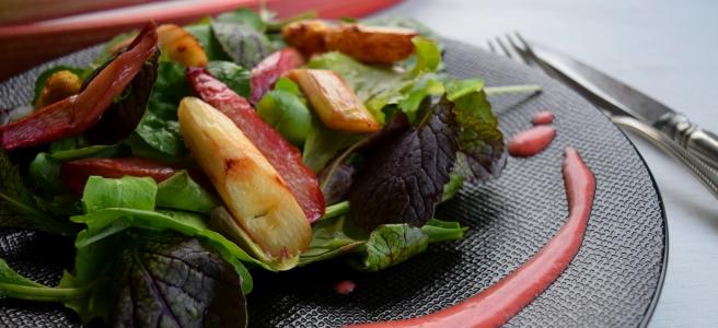 Rhabarber und Spagel auf Pflücksalat mit Erdbeer-Pfefferdressing